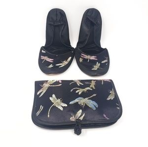 Cathayana | Foldable Dragonfly Travel Slipper Sz M
